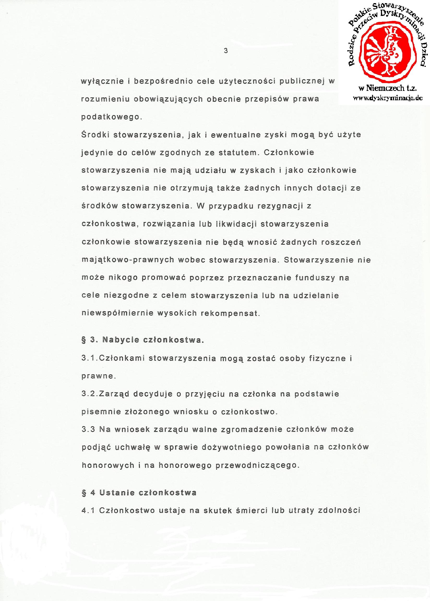 Statut: Polskie Stowarzyszenie Dyskryminacja.de str.3