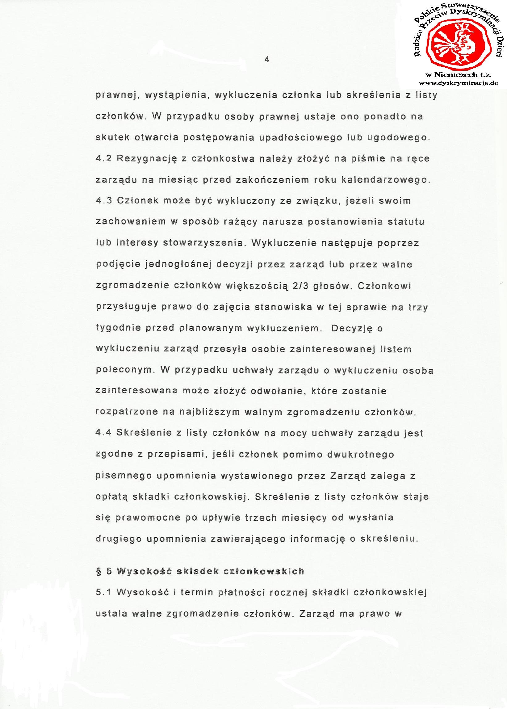 Statut: Polskie Stowarzyszenie Dyskryminacja.de str.4