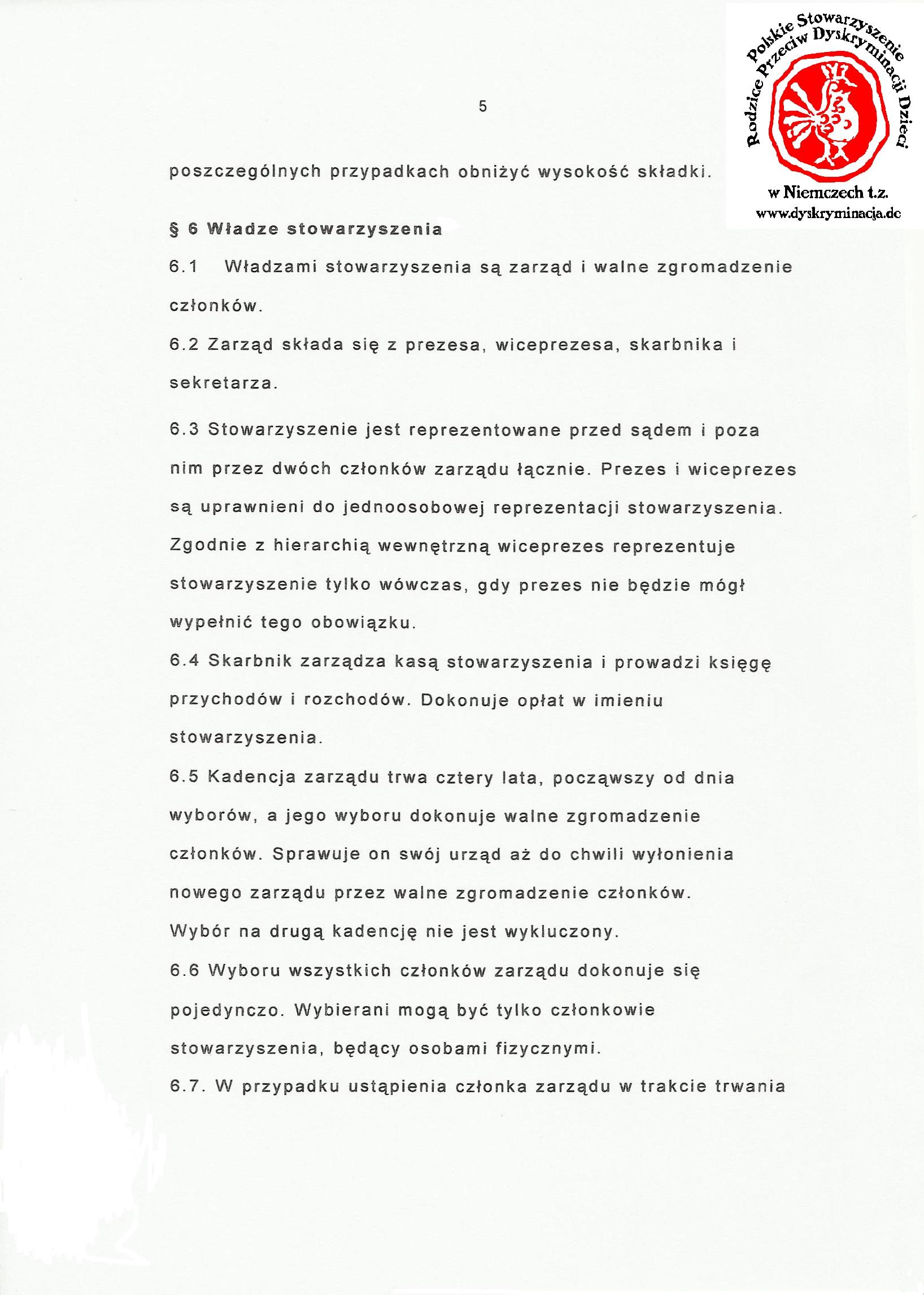 Statut: Polskie Stowarzyszenie Dyskryminacja.de str.5