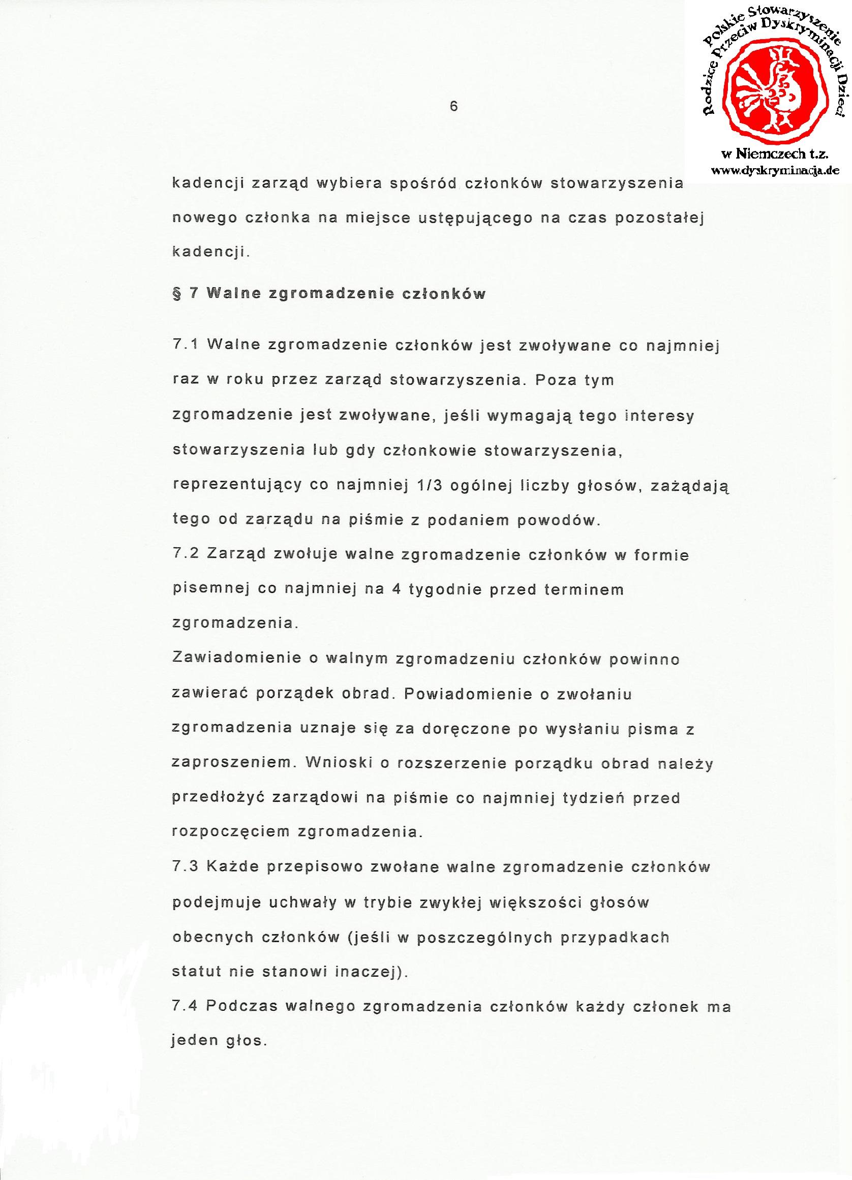 Statut: Polskie Stowarzyszenie Dyskryminacja.de str.6