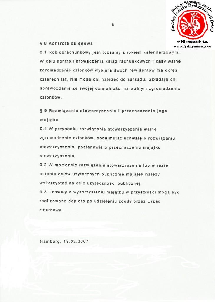 Statut: Polskie Stowarzyszenie Dyskryminacja.de str.8