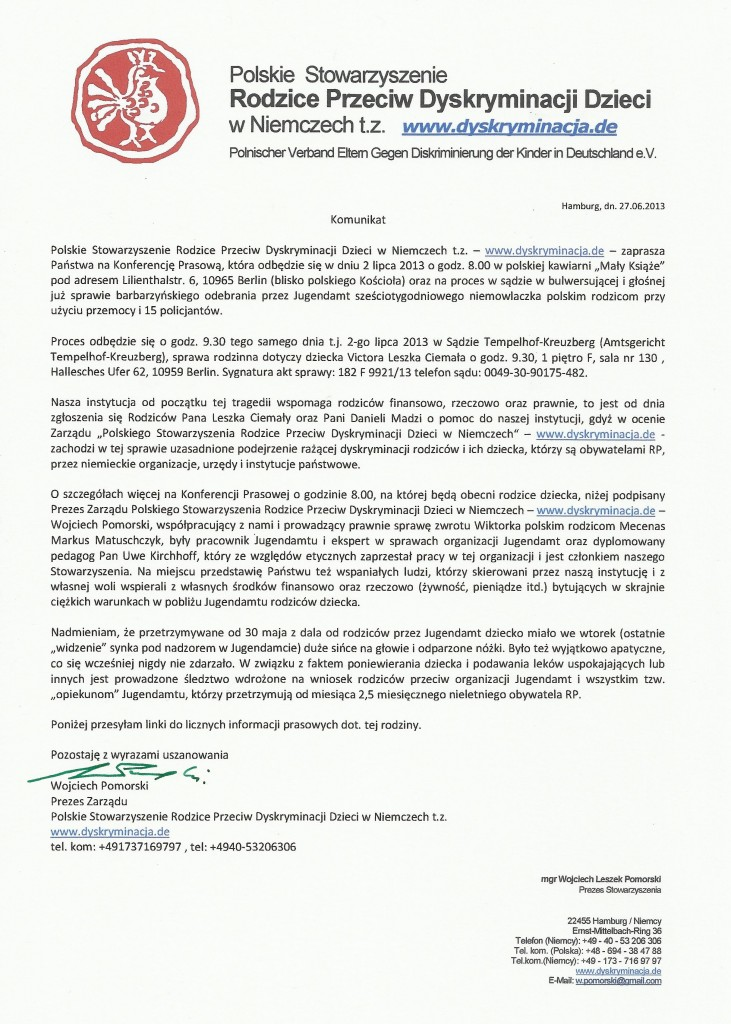 Wojciech Pomorski Komunikat Konferencja Prasowa 2.7.13 Berlin
